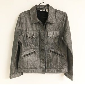 Chico's Silver Metallic Jean Jacket